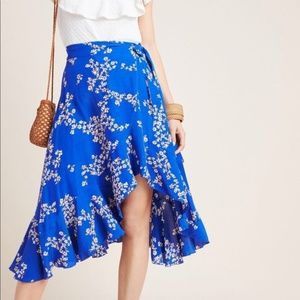 Anthropologie Estel Floral Wrap Skirt Sz 8